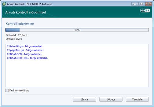 Nod32 ea scan window Arvuti kontroll – aken