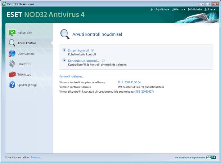 Nod32 ea scanner main Arvuti kontroll