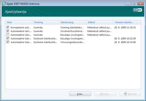 Nod32 ea scheduler window Ajasti – uus aken