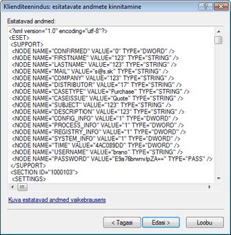 Nod32 ea support detect Esitatud andmete kinnitamine