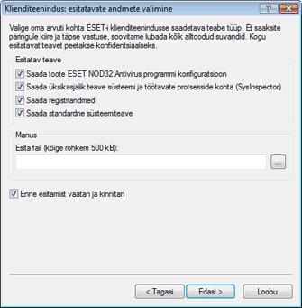 Nod32 ea support send Esitatavate andmete valimine