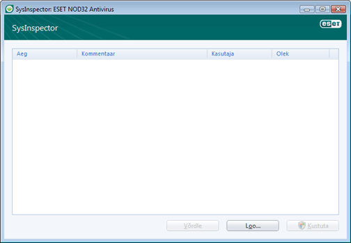 Nod32 ea sysinspector window ESET SysInspector – uus aken