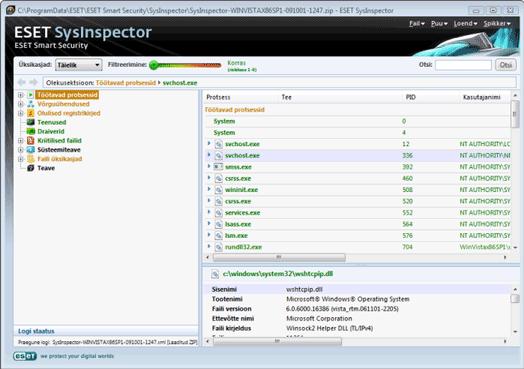 Nod32 sinsp usage Kasutajaliidese ja rakenduse kasutamine