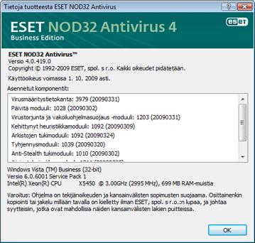 Nod32 ea about Tietoja ESET NOD32 Antivirus  ohjelmasta