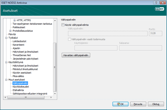 Nod32 ea config connection Välityspalvelin