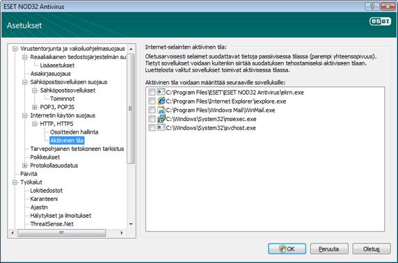Nod32 ea config epfw browsers mode Internet selainten aktiivinen tila