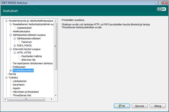 Nod32 ea config epfw scan main page Protokollien suodatus