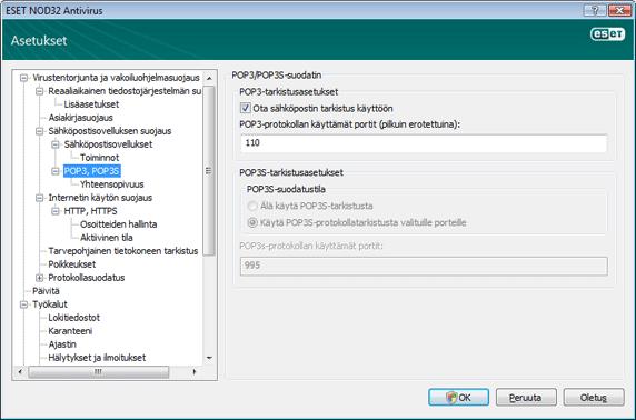 Nod32 ea config epfw scan pop3 POP3 tarkistus