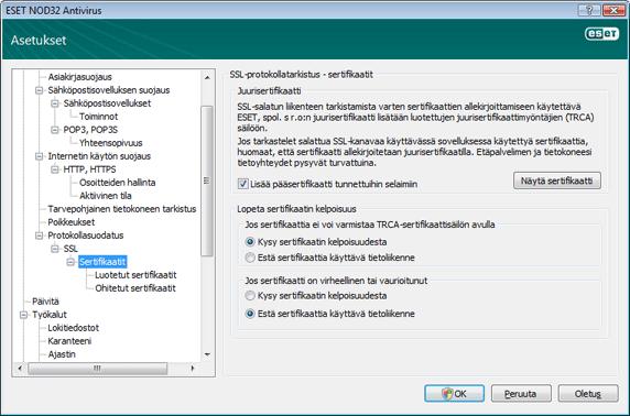 Nod32 ea config epfw ssl cert set Sertifikaatit