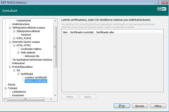 Nod32 ea config epfw ssl exclude Ohitetut sertifikaatit