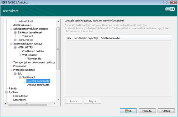 Nod32 ea config epfw ssl trusted Luotetut sertifikaatit