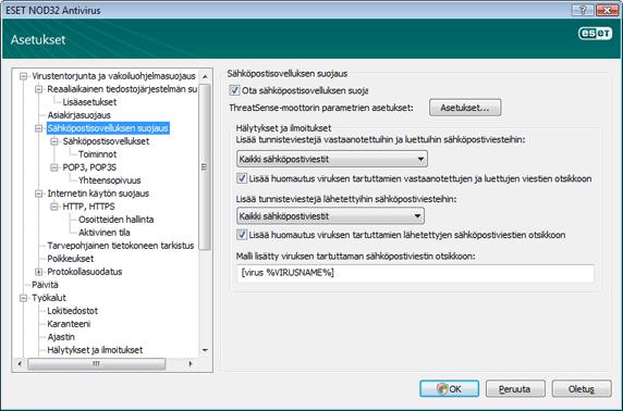 Nod32 ea config mail Sähköpostisovelluksen suojaus