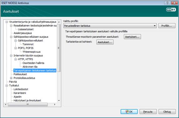Nod32 ea config scan Tarvepohjainen tietokoneen tarkistus