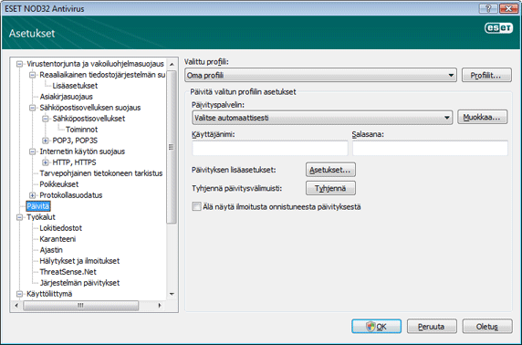 Nod32 ea config update source Päivitysasetukset