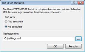Nod32 ea importexport config Tuo ja vie asetuksia