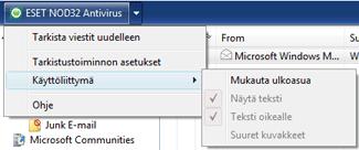 Nod32 ea oe toolbar Outlook Express  ja Windows Mail  työkalurivit