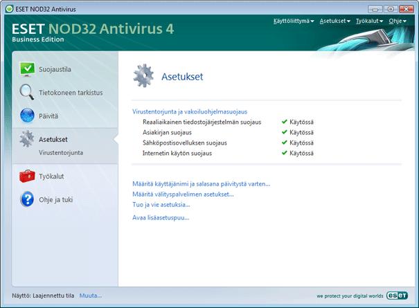 Nod32 ea page advanced settings Käyttöliittymän rakenteen esittely