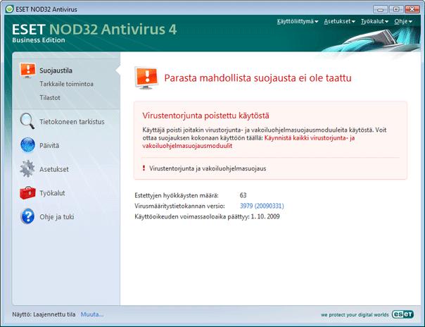 Nod32 ea page status 02 Mitä tehdä, jos ohjelma ei toimi oikein?