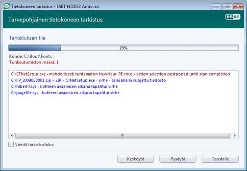 Nod32 ea scan window Tietokoneen tarkistus   ikkuna