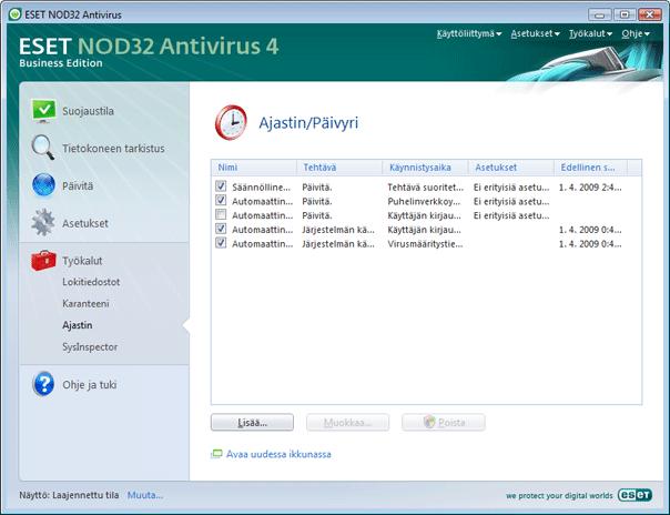 Nod32 ea scheduler info Ajastimen tiedot
