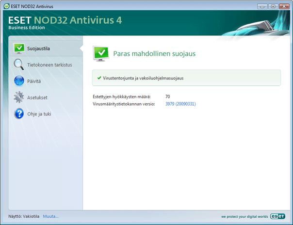 Nod32 ea simple mode Käyttöliittymän rakenteen esittely