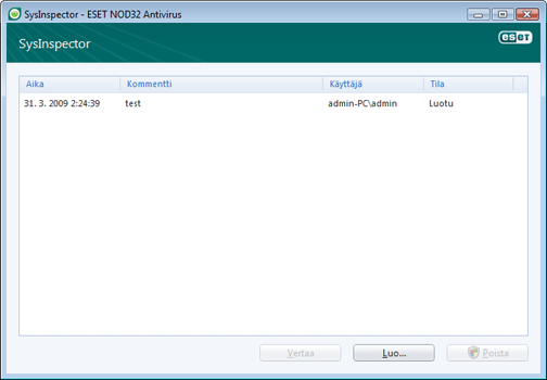 Nod32 ea sysinspector window ESET SysInspector   uusi ikkuna
