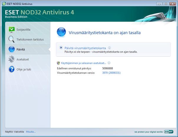 Nod32 ea update main Päivitysasetukset