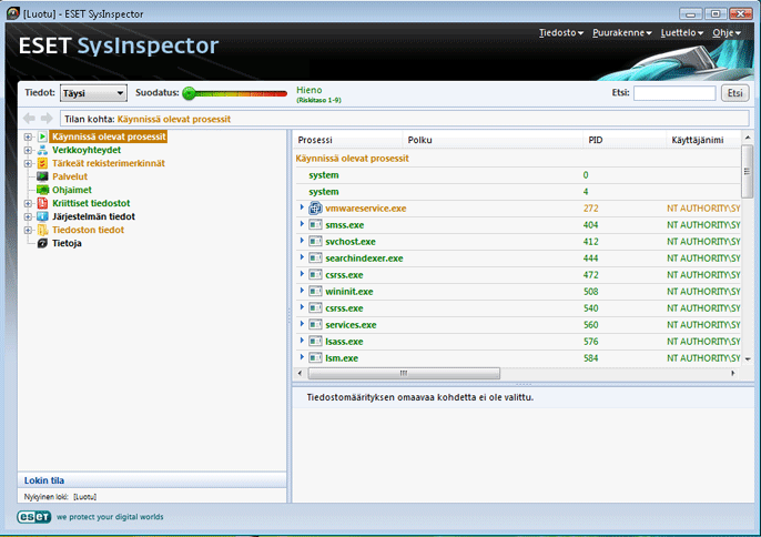 Nod32 sinsp usage Käyttöliittymä ja sovellusten käyttäminen