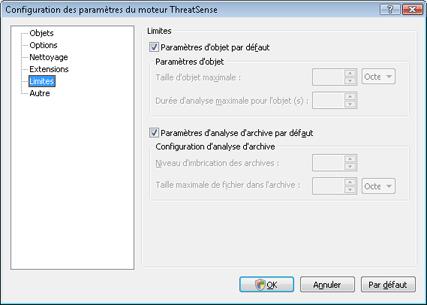 Nod32 config limit Limites
