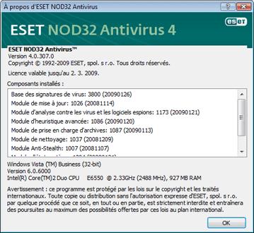 Nod32 ea about A propos dESET NOD32 Antivirus