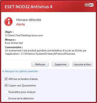 Nod32 ea antivirus behavior and user interaction 01 Une infiltration a été détectée