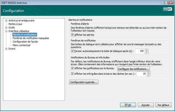 Nod32 ea config alert Alertes et notifications