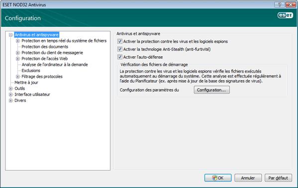 Nod32 ea config antivirus Protection contre les virus et les logiciels espions   Configuration
