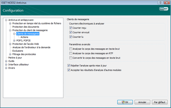 Nod32 ea config emon scan Protection du courrier
