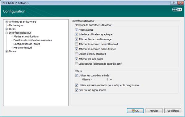 Nod32 ea config environment Interface utilisateur
