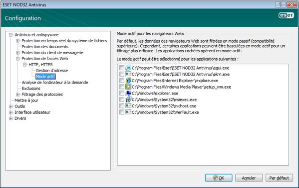 Nod32 ea config epfw browsers mode Mode actif pour les navigateurs Web