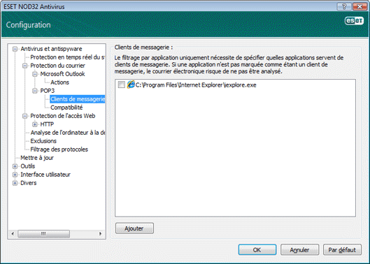 Nod32 ea config epfw email client Clients de messagerie