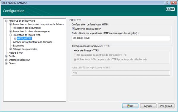 Nod32 ea config epfw scan http Filtre HTTP