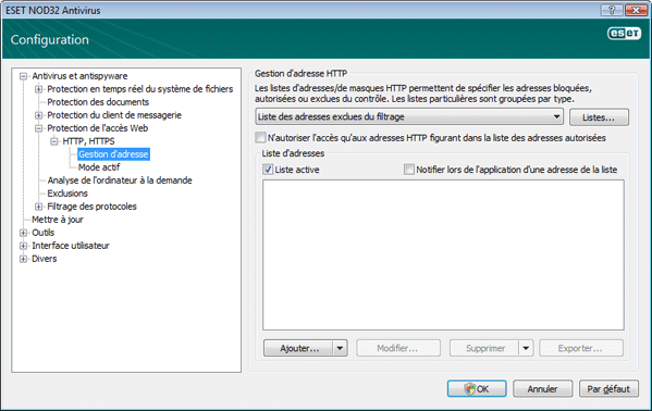 Nod32 ea config epfw scan http excludelist Gestion dadresse HTTP