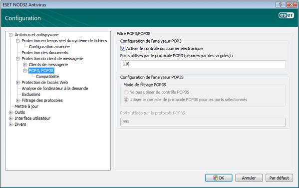 Nod32 ea config epfw scan pop3 Contrôle POP3