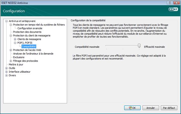 Nod32 ea config epfw scan pop3 comp Compatibilité