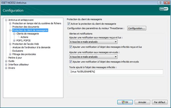 Nod32 ea config mail Protection du client de messagerie