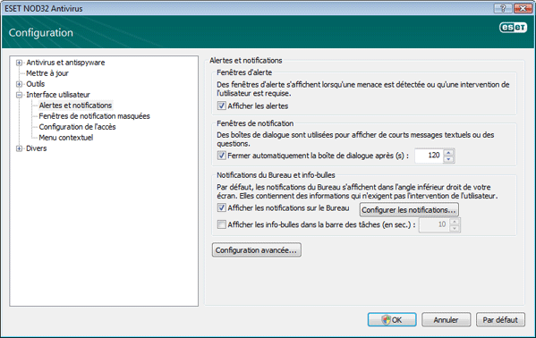 Nod32 ea config notice Alertes et notifications