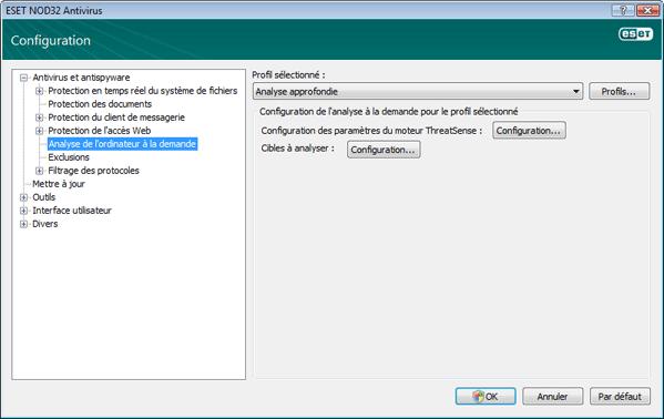 Nod32 ea config scan Analyse de lordinateur a la demande