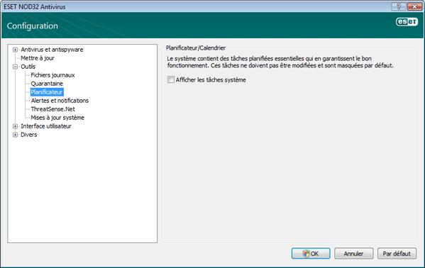Nod32 ea config scheduler Planificateur