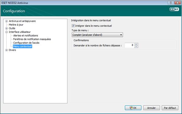 Nod32 ea config shellext Menu contextuel