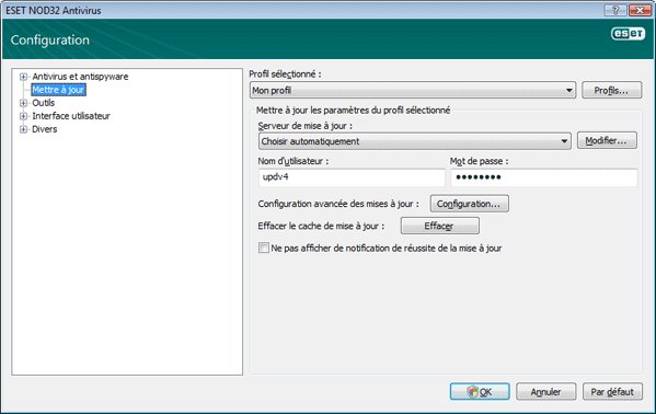 Nod32 ea config update source Configuration des mises a jour