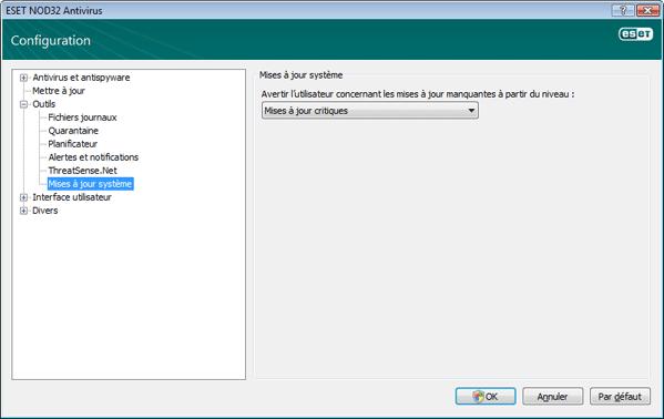 Nod32 ea config windows update Mise a jour du systeme dexploitation   parametres