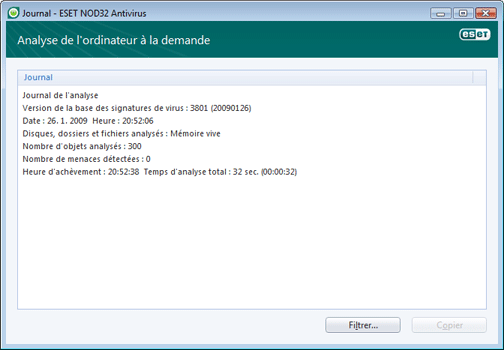Nod32 ea log window Journaux   nouvelle fenetre