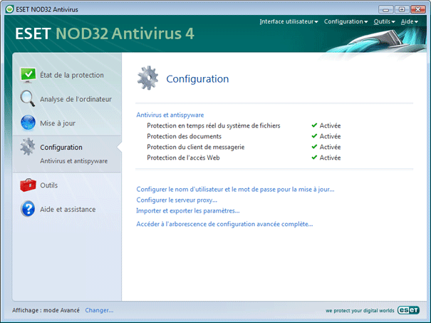 Nod32 ea page advanced settings Configuration   Mode avancé